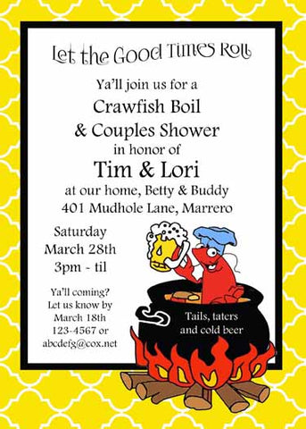 CRAWFISH IN BOILING POT CUSTOM INVITATION