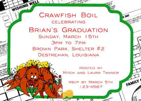 NEWS PRINT CRAWFISH CUSTOM INVITATION