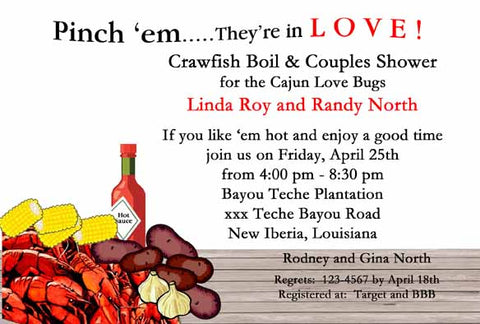 BOILED CRAWFISH ON TABLE CUSTOM INVITATION