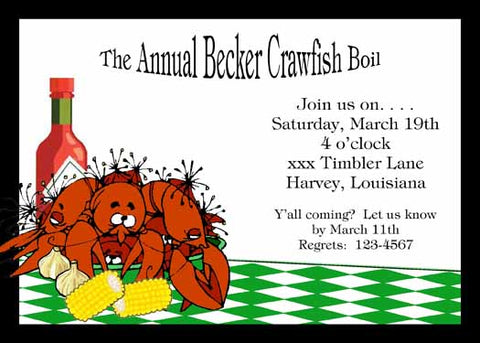 DIZZY CRAWFISH CUSTOM INVITATION