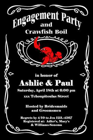 JACK DANIELS LABEL CRAWFISH CUSTOM INVITATION