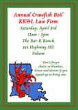 LOUISIANA PELICAN OR CRAWFISH CUSTOM INVITATION