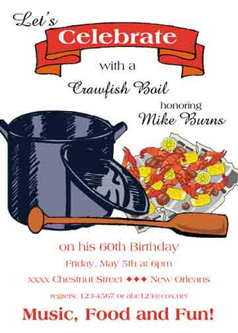 POT, PADDLE AND CRAWFISH CUSTOM INVITATION