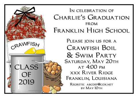 SACK OF CRAWFISH READY FOR THE POT CUSTOM INVITATION