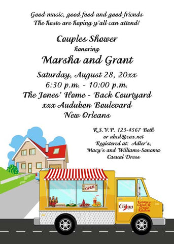 CAJUN FOOD TRUCK CUSTOM INVITATION