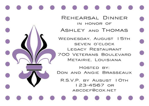 FRENCH FLEUR DE LIS CUSTOM INVITATION