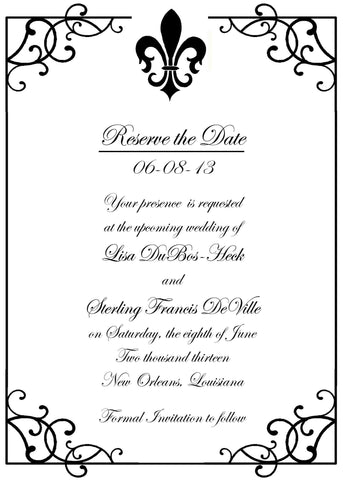 FLEUR DE LIS AND WROUGHT IRON CUSTOM INVITATION