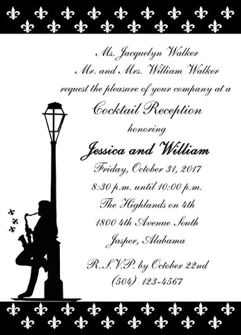 FLEUR DE LIS BANDS  AND JAZZ MAN CUSTOM INVITATION