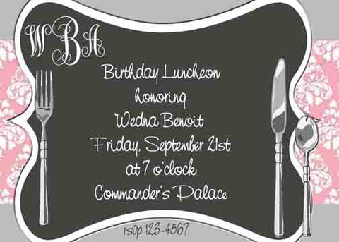 SILVERWARE PLACE SETTING CUSTOM INVITATION