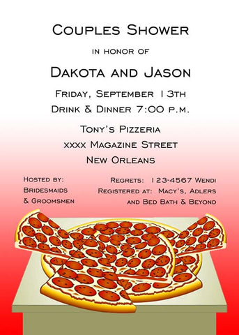 FULL PIZZA ON TABLE CUSTOM INVITATION