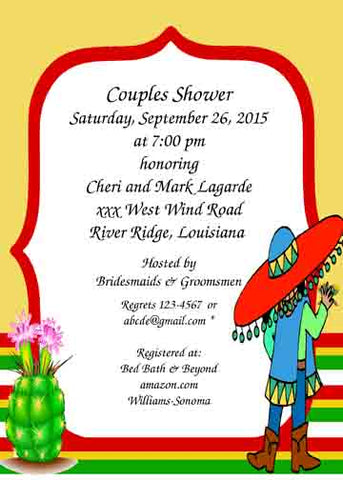 MAN AND CACTUS FLOWER CUSTOM INVITATION