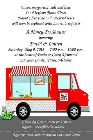 TACO TRUCK CUSTOM INVITATION