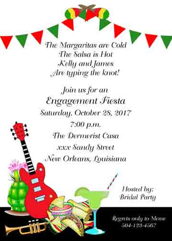 RED AND GREEN BANNER OVER MEXICAN ICONS CUSTOM INVITATION