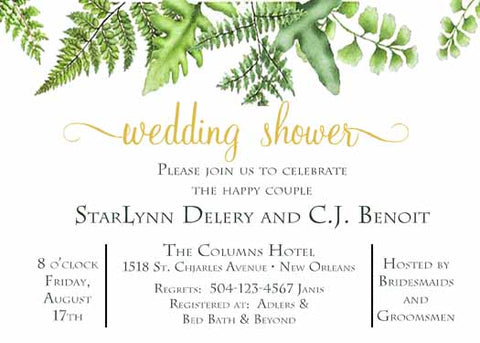 FERN AND LEAVES CUSTOM INVITATION