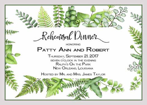 FERN AND LEAVES FRAME CUSTOM INVITATION