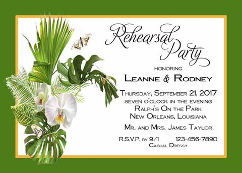 FERN AND ORCHIDS CUSTOM INVITATION