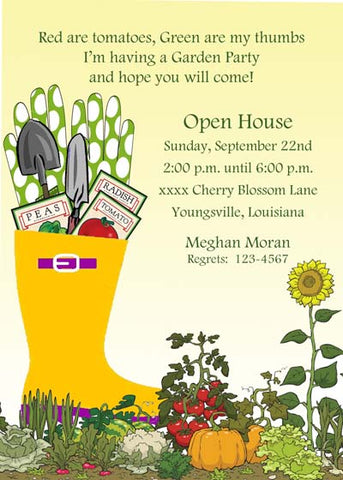 GARDEN TOOLS CUSTOM INVITATION
