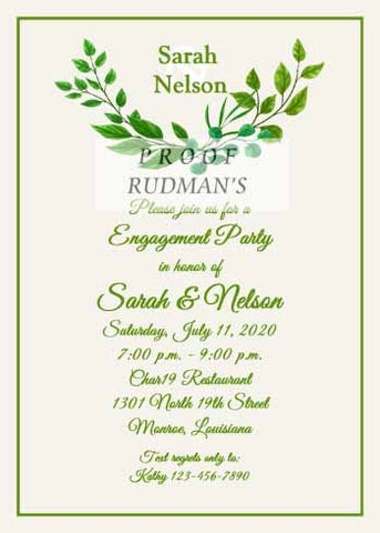 GREEN LEAVES CUSTOM INVITATION
