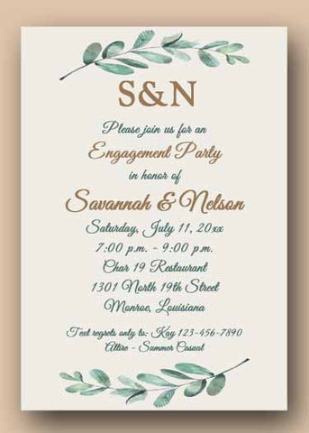 BRANCHES OF OLIVE LEAVES CUSTOM INVITATION