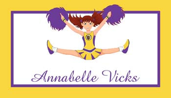 CHEERLEADER PURPLE GOLD PERSONALIZED GIFT OR CALLING CARDS