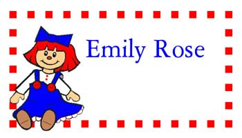 RAG DOLL PERSONALIZED GIFT OR CALLING CARDS