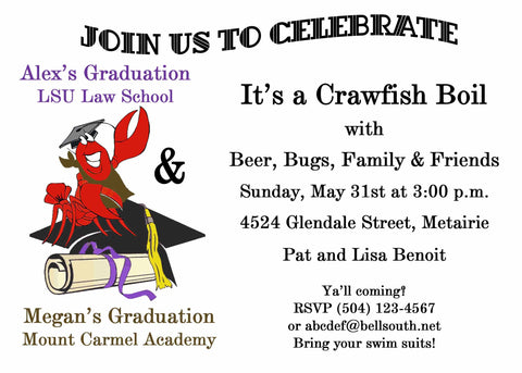 CRAWFISH ON CAP GRADUATION CUSTOM INVITATION