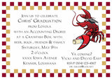 CRAWFISH CHECKER BORDER GRADUATION CUSTOM INVITATION