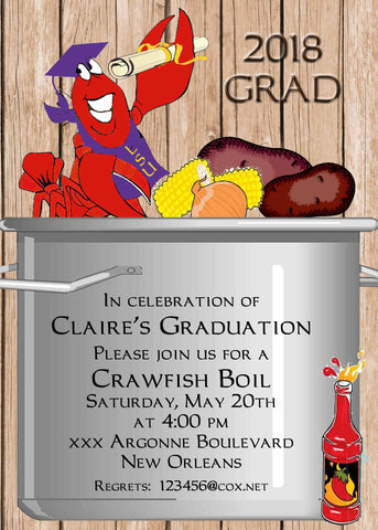 CRAWFISH BOILING POT GRADUATION CUSTOM INVITATION