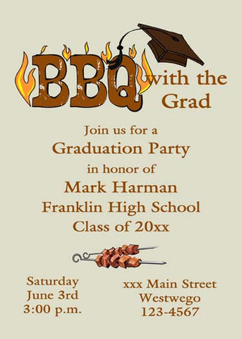GRADUATION BBQ FLAMES CUSTOM INVITATION
