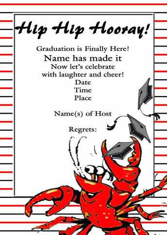 CRAWFISH TOSSING CAPS GRADUATION CUSTOM INVITATION