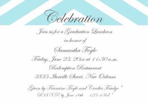 GRADUATION CELEBRATION IN CHEVRON CUSTOM INVITATION