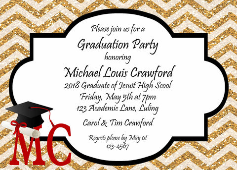 GLITTER CHEVRON GRADUATION CUSTOM INVITATION