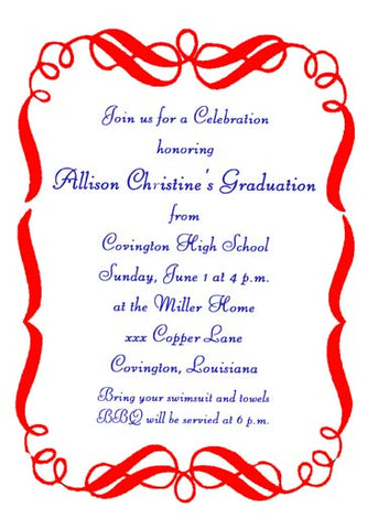 GRADUATION SWIRLS CUSTOM INVITATION