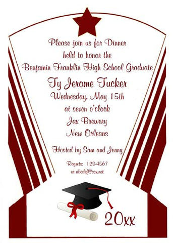 ART DECO GRADUATION BORDER CUSTOM INVITATION