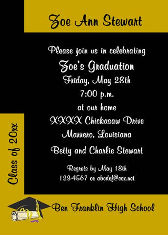 COLOR BLOCK GRADUATION CUSTOM INVITATION
