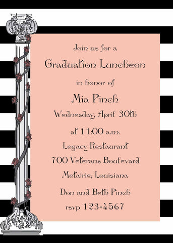 GREEK COLUMNS GRADUATION CUSTOM INVITATION