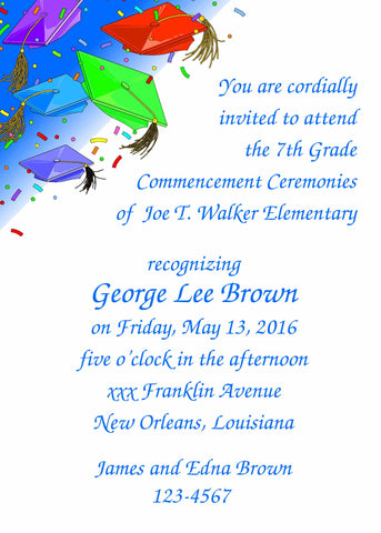 FLYING CAPS GRADUATION CUSTOM INVITATION