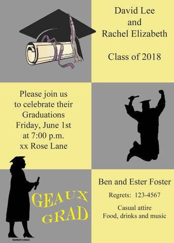 COLOR BLOCKS GRADUATION CUSTOM INVITATION