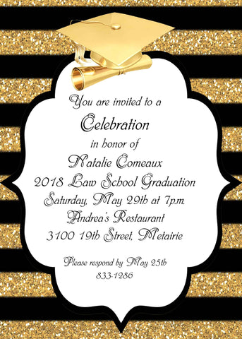 GOLD CAP AND STRIPES GRADUATION CUSTOM INVITATION