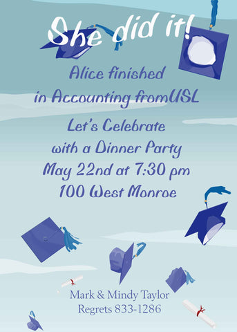 FLYING CAPS 2 GRADUATION CUSTOM INVITATION