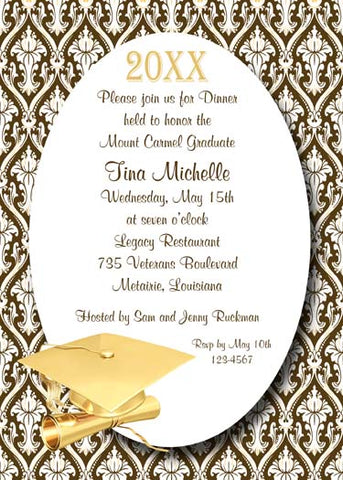 GOLD GRADUATION CAP AND FLORAL BACKGROUND CUSTOM INVITATION
