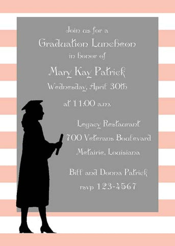 GIRL OR BOY SILHOUETTE GRADUATE CUSTOM INVITATION