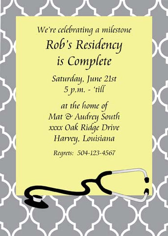 STETHOSCOPE QUAD BACKGROUND CUSTOM INVITATION