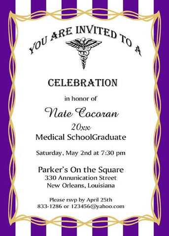 MEDICAL CADUCEUS GRADUATION CUSTOM INVITATION