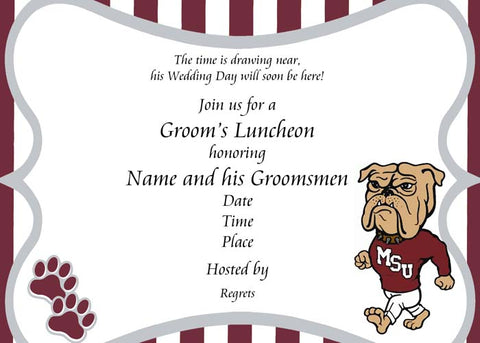 UNIVERSITY COLORS, MASCOT OR LOGO CUSTOM INVITATION