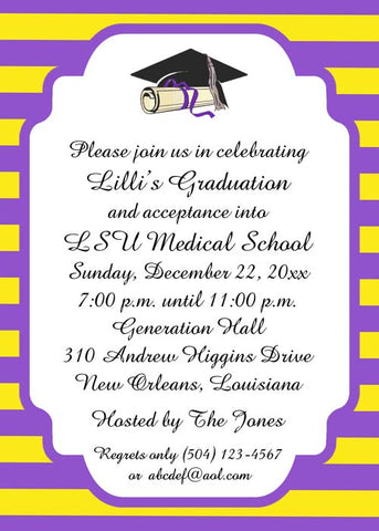 MODERN STRIPE WITH GRADUATION CAP AND DIPLOMA CUSTOM INVITATION