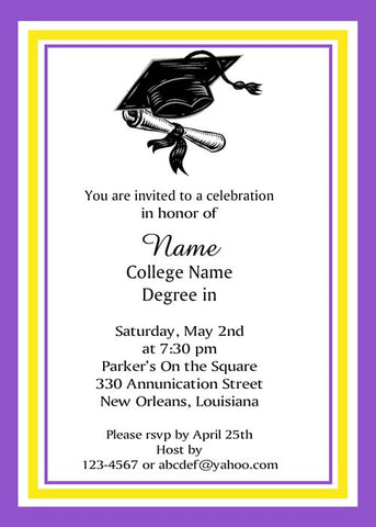 COLOR BORDER WITH GRADUATION CAP AND DIPLOMA CUSTOM INVITATION