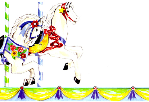 CAROUSEL HORSES - BLANK STOCK INVITATION