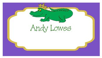 ALLIGATOR WITH CROWN PERSONALIZED GIFT OR CALLING CARDS