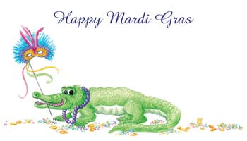 MARDI GRAS ALLIGATOR PERSONALIZED GIFT OR CALLING CARDS